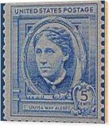 Louisa May Alcott Postage Stamp  Wood Print