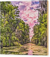 Louisiana Bayou Sunrise Wood Print