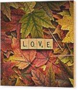 Love-autumn Wood Print