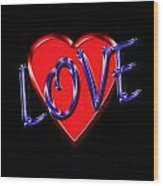 Love In Blue And Red Wood Print