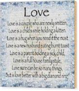 Love Poem In Blue Wood Print