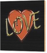Love In Gold And Copper Wood Print