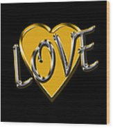 Love In Gold And Silver Wood Print
