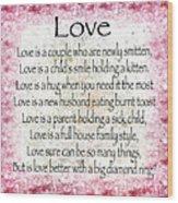 Love Poem In Pink Wood Print
