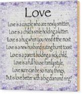 Love Poem In Purple  Wood Print
