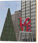 Love Park Philadelphia - Winter Wood Print