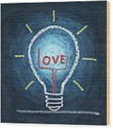 Love Word In Light Bulb Wood Print