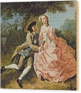 Lovers In A Landscape Wood Print