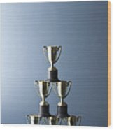 Loving Cup Trophies Stacked In A Pyramid Wood Print