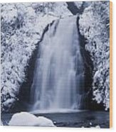 Low Angle View Of A Waterfall, Glenoe Wood Print