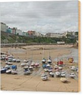 Low Tide At Tenby Wood Print