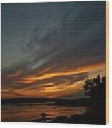 Low Tide Sunset Wood Print