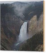 Lower Falls At Yellowstone Wood Print