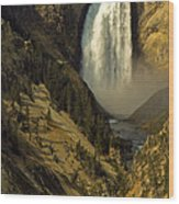 Lower Falls On The Yellowstone River Wood Print