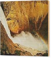 Lower Falls Yellowstone River Wood Print