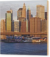 Lower Manhattan And The Brooklyn Bridge Wood Print by Jeremy Woodhouse
