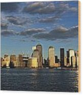 Lower Manhattan At Sunset, Viewed From Wood Print