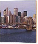 Lower Manhattan Skyline And Brooklyn Bridge At Dawn Wood Print