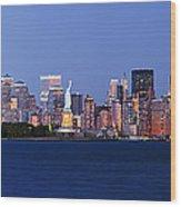 Lower Manhattan Skyline At Dusk Wood Print by Jeremy Woodhouse