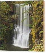 Lower South Falls At Silver Falls Wood Print