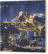 Lucerne At Night From Above Wood Print by George Oze