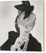 Lucille Ball Models A Unique Hat Wood Print by Everett