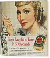 Luckys Cigarette Ad, 1938 Wood Print