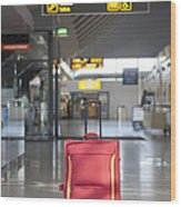Luggage Sitting Alone In An Airport Terminal Wood Print