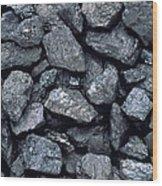 Lumps Of High-grade Anthracite Coal Wood Print