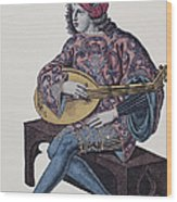 Lute Player, 1839 Wood Print by Granger