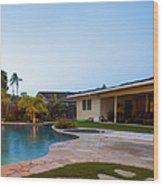 Luxury Backyard Pool And Lanai Wood Print