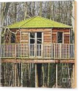 Luxury Tree House In The Woods Wood Print