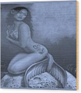 Lydia The Tattooed Mermaid In Cyan Wood Print