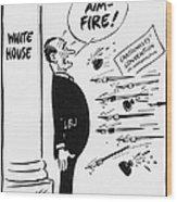 Lyndon B. Johnson: Cartoon Wood Print by Granger