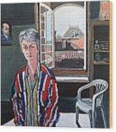 Lynne In My Studio Wood Print