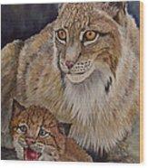 Lynx Mom And Baby Wood Print