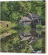 Mabry Mill And Pond With Reflection Wood Print