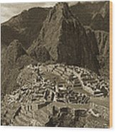 Machu Picchu Sepia Wood Print