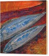 Mackerels In The Sunset Wood Print by Aquira Kusume