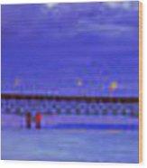 Mackinac Bridge After Sunset Wood Print