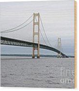 Mackinac Bridge From Water 2 Wood Print