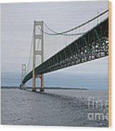 Mackinac Bridge From Water Wood Print