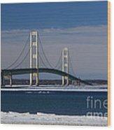 Mackinac Bridge In Winter 2 Wood Print
