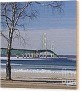 Mackinac Bridge With Trees Wood Print
