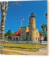 Mackinac Point Light Wood Print