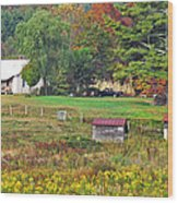 Mack's Farm In The Fall Wood Print