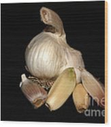 Macro Garlic Wood Print