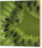 Macro Kiwi Slice Wood Print by Janeen Wassink Searles