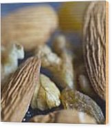 Macro Shots Of Various Dry Fruit Items Such As Almonds And Walnuts And Raisins Wood Print
