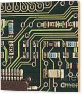 Macro View Of A Computer Motherboard Wood Print by Yali Shi